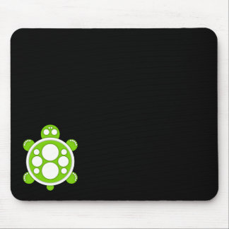 Mousemat, round turtle, white, lime green, black mouse pad