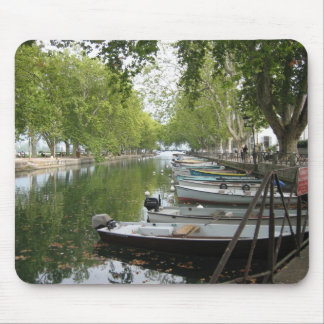 Mousepad: Boats, Canal, Lake Annecy, France Mouse Pad