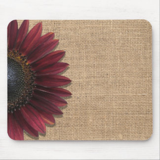 Mousepad - Burlap and Bordeaux Sunflower