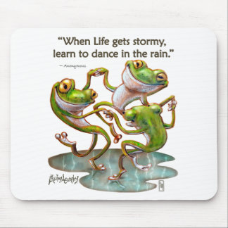 Mousepad: Frogs Dancing in Rain With Quote Mouse Pad