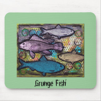 Mousepad, Grunge Fish, Mixed Media Art Mouse Pad