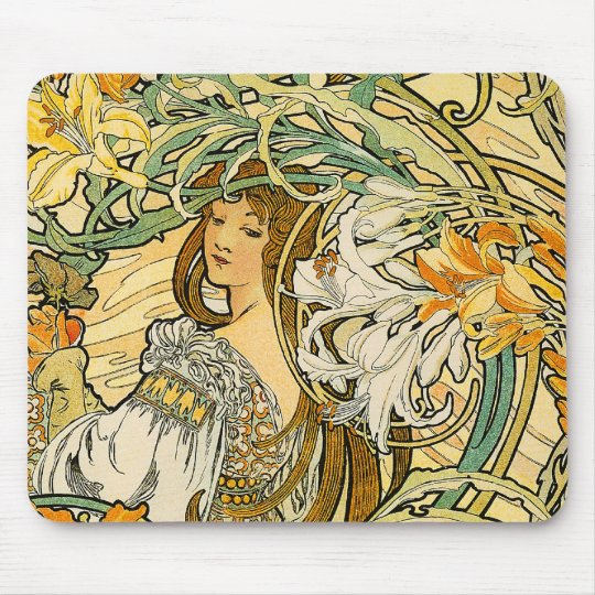 Mousepad:  Mucha - Language of Flowers Mouse Pad