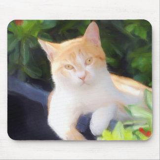 Mousepad orange de chat tigré tapis de souris
