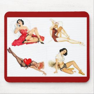 Mousepad Pin up Girls Art Vintage Retro Collage 4