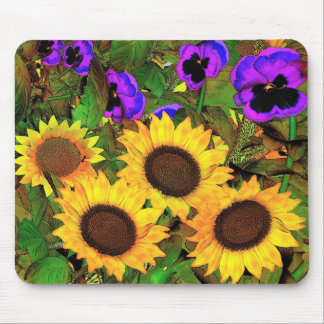 Mousepad Sunflowers And Pansies