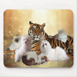 Mousepad Tiger Dogs Cats friends