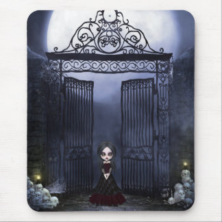 Mousepad with Creepy Goth Girl, Skulls & Gates