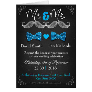 Moustache and bow for Mr and Mr Greeting Card