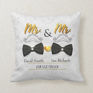 Moustache and bow for Mr and Mr Throw Pillow
