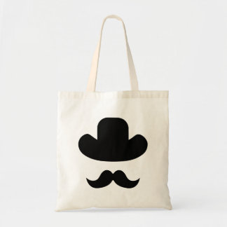 Moustache and hat tote bag