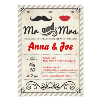 Moustache and Lips Couples Shower Invitation