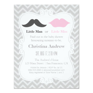 """Moustache and Lips Grey Gender Reveal Baby Shower 4.25"""" X 5.5"""" Invitation Card"""