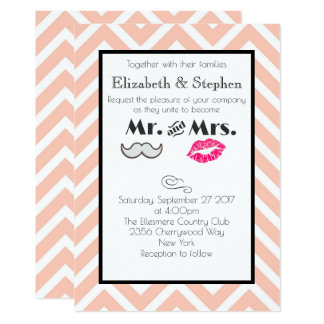 Moustache and Lips Mr. and Mrs. Peach Wedding Card