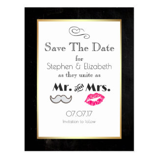 Moustache and Lips Mr. and Mrs. Save the Date Postcard