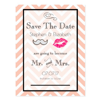 Moustache and Lips Peach Chevron Save the Date Postcard