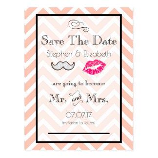 Moustache and Lips Peach Chevron Save the Date Postcard