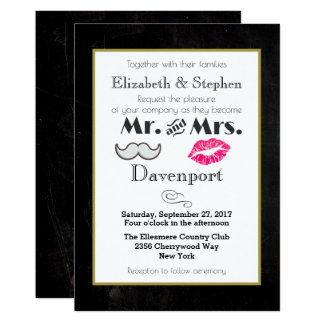 Moustache and Lips Wedding Invite on Black