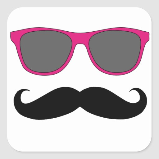Moustache and Pink Sunglasses Humour Square Sticker