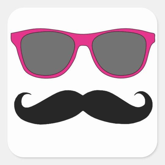 Moustache and Pink Sunglasses Humour Square Sticker
