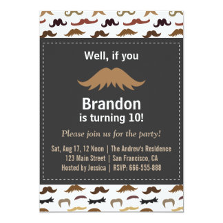 Moustache Birthday Party and Pattern 5x7 Paper Invitation Card