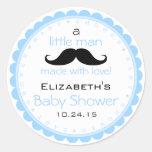 Moustache Blue Baby Shower Round Sticker