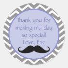 Moustache Blue Label Thank You Round Sticker