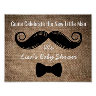 Moustache & Bow Party Sign with Burlap Background