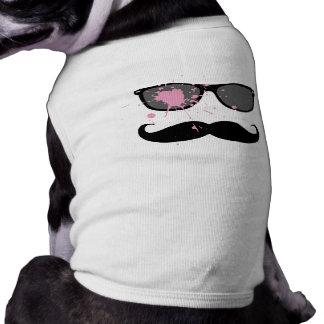 Moustache et lunettes de soleil drôles tee-shirt pour animal domestique