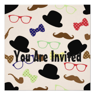 Moustache Hat Glasses And Bow Tie Card
