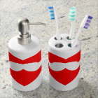 Moustache Heart Soap Dispenser And Toothbrush Holder
