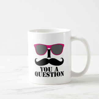 Moustache Humor with Pink Sunglasses Mug
