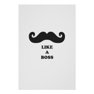 Moustache like a boss poster