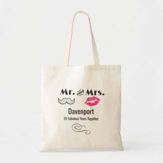 Moustache & Lips Mr. & Mrs. - Anniversary Tote Bag