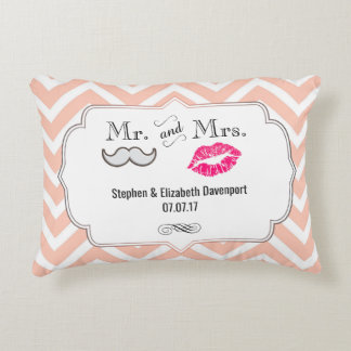 Moustache & Lips Mr. & Mrs. Peach Chevron Wedding Decorative Pillow