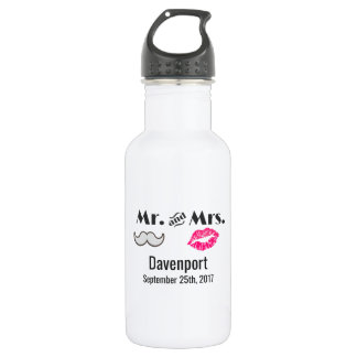 Moustache & Lips Mr. & Mrs. Wedding 532 Ml Water Bottle