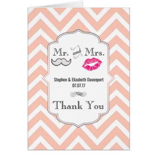 Moustache & Lips Mr. & Mrs. Wedding Thank You Card