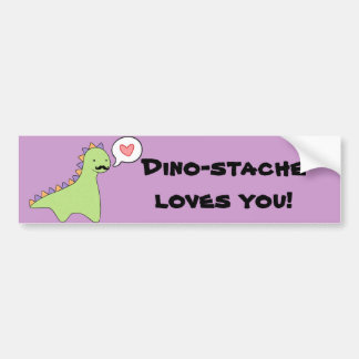 """Moustache mignonne de dinosaure de """"Dino-stache"""" Autocollant De Voiture"""