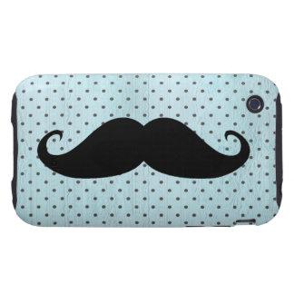 Moustache noire drôle sur le pois bleu turquoise coques iPhone 3 tough