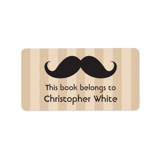 Moustache on brown stripes bookplates / book label