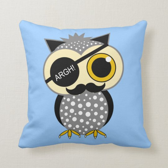 moustache pirate owl throw pillow