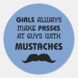 Moustache Round Sticker