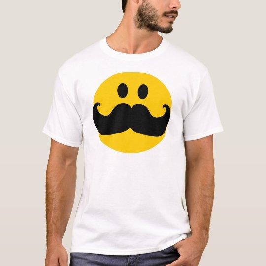 Moustache Smiley (Customizable background colour) T-Shirt