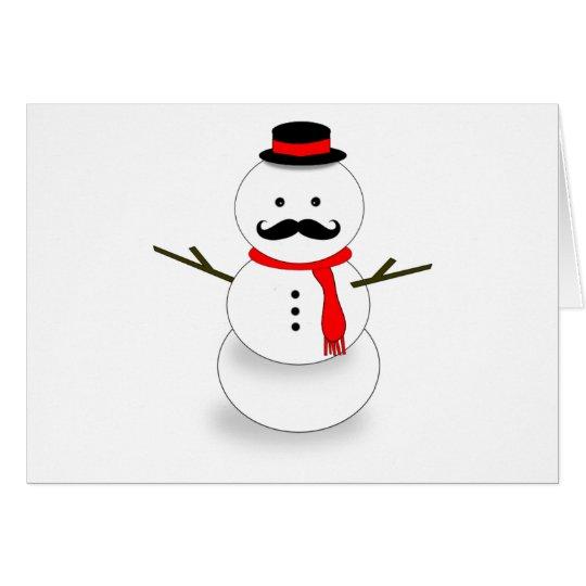 moustache snowman note card