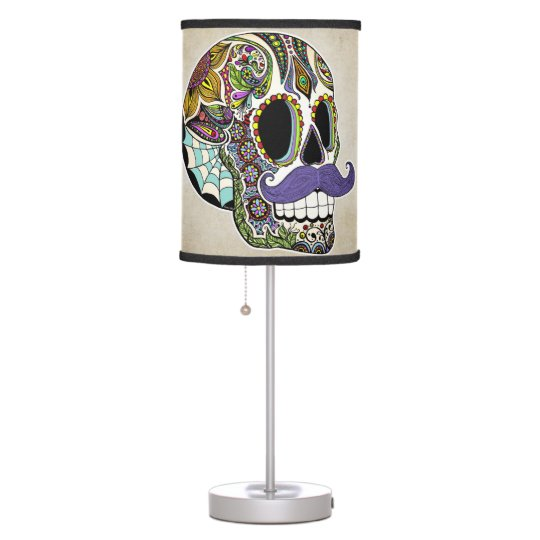 Moustache Sugar Skull Table Lamp