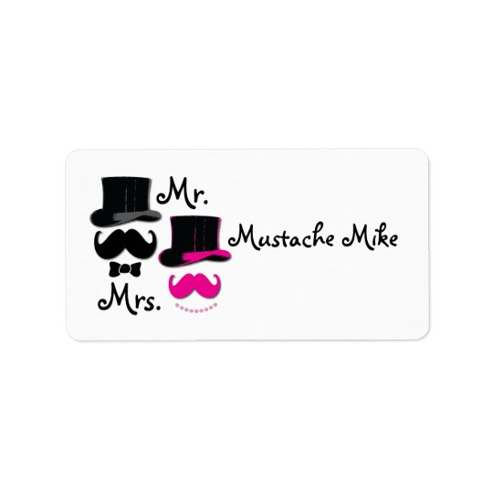 Moustache , top hat,bow tie and pearls label