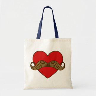 Moustache Valentine Heart Budget Tote Bag