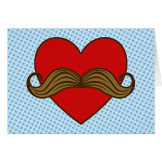 Moustache Valentine Heart Card