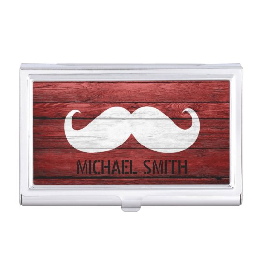 Moustache Vintage Wood Business Card Holder
