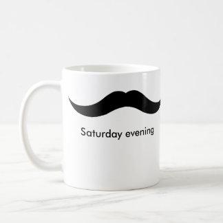 moustache weekend basic white mug