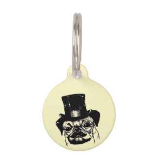 Moustached pug pet name tag
